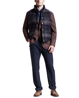 Brunello Cucinelli Plaid Snap-Front Vest, Interlock Sport Coat & Chambray Shirt