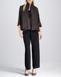Eileen Fisher Reflection Jacquard Jacket, Silk Sleeveless Tank & Silk Georgette Pants, Women's