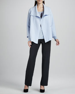 Eileen Fisher Boiled-Wool Coat, Long-Sleeve Jersey Tee & Straight-Leg Ponte Pants