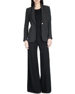 Misook Leather-Piped Jacket, Sleeveless Long Tank & Palazzo Pants