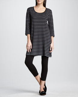 Joan Vass Striped Knit Tunic & Stretch Leggings, Petite