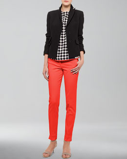 Akris punto Peaked-Lapel Jacket, Dot-Print Blouse & Franca High-Waist Cropped Pants