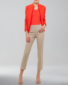 Akris punto Fringe-Trimmed Tweed Jacket, V-Neck Back-Zip Shell & Franca High-Waist Cropped Pants