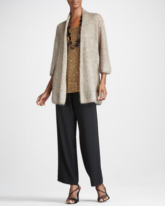 Long Mohair Cardigan, Sequin Tunic & Silk Straight-Leg Pants, Women's