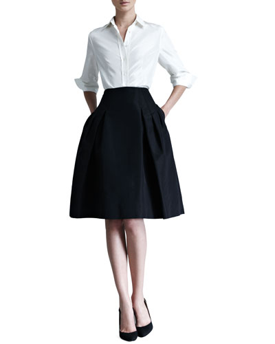 Silk Taffeta Shirt & Faille Party Skirt
