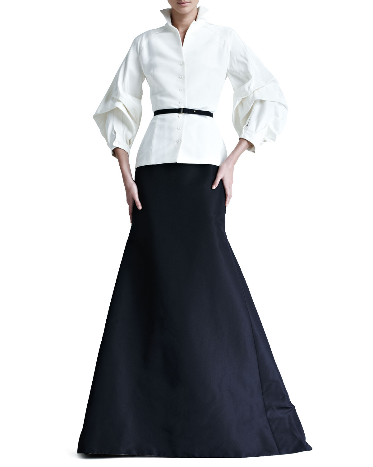 Carolina Herrera Silk Faille Blouse & Gown Skirt & Matching Items ...