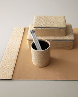Crocodile-Embossed Desk Accessories