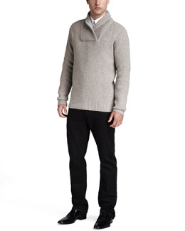Burberry Brit Shawl-Collar Sweater & Slim Black Jeans
