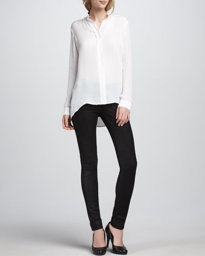 Vince Silk Blouse & Textured Leather Jeans