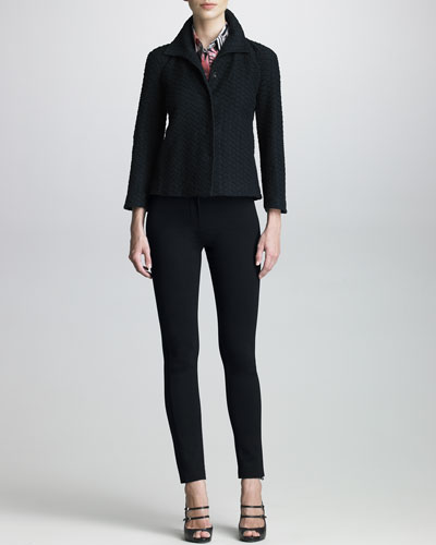 Armani Collezioni Honeycomb-Textured Swing Jacket, Sleeveless Botanical-Print Blouse & Double-Faced Jersey Leggings