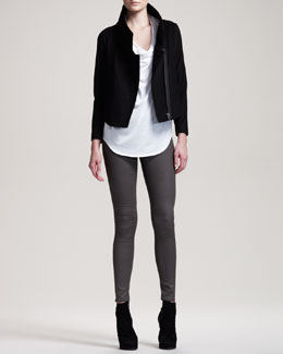 Helmut Lang Vector Felt Biker Jacket, Feather Jersey Tee & Gloss-Wash Stretch Leggings