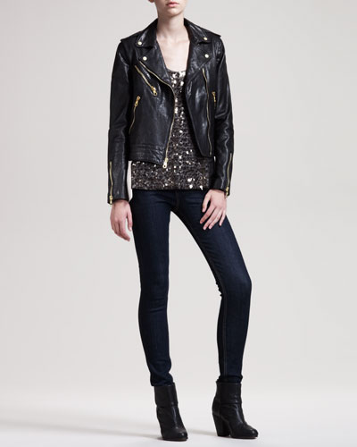 rag & bone/JEAN Bowery Leather Jacket, Bahia Sequined Top & The High-Rise Skinny Heritage Jeans