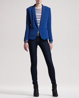 rag & bone/JEAN Sliver Tuxedo Jacket, Gansevoort Striped Top & The High-Rise Skinny Heritage Jeans