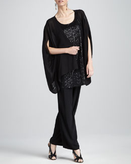 Eileen Fisher Sheer Georgette Jacket, Sleeveless Sequin Tunic & Silk-Georgette Pants, Women's
