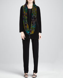 Caroline Rose Long Velvet Jacket, Knit Tunic, Burnout Leaves Scarf & Stretch Velvet Pants, Women's