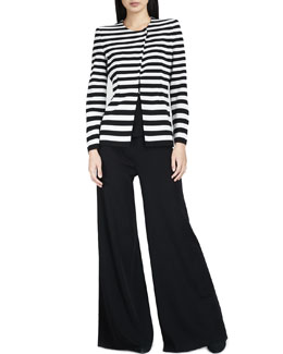 Misook Lorena Stripe Jacket, Sleeveless Long Tank & Palazzo Pants