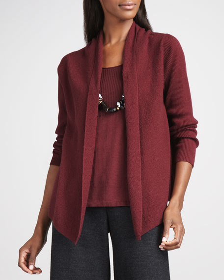 Washable Wool-Ribbed Cardigan, Petite