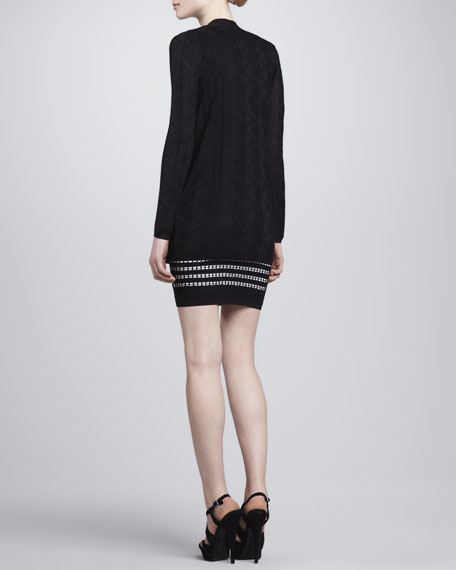 Zigzag Knit Long Cardigan, Black