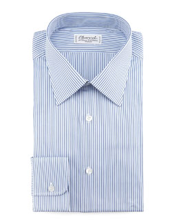 Charvet Striped Dress Shirt & Tonal Grid Tie