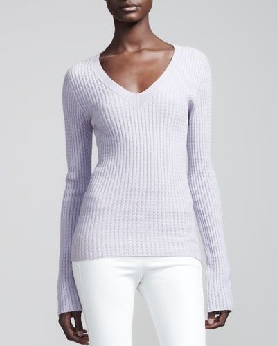 THE ROW Cashmere Cable Sweater & Cropped Stretch-Denim Leggings