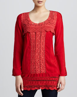 Johnny Was Collection Embroidered Tunic & Cotton Tank
