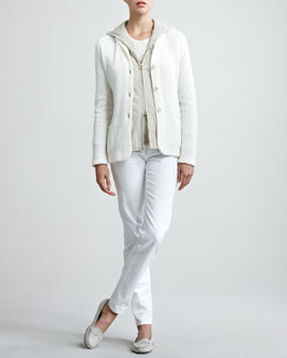 Loro Piana Ribbed Knit Sweater Cardigan Jacket, Sueded Bomber Jacket, Long Sleeve Tee & Skinny Jeans