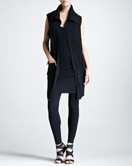 Donna Karan Cashmere Long Zip Vest, Stretch-Cashmere Tank, Tube Skirt & Leggings