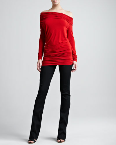 Donna Karan Off-the-Shoulder Long-Sleeve Tunic & Pull-on Seamed Stretch Pants