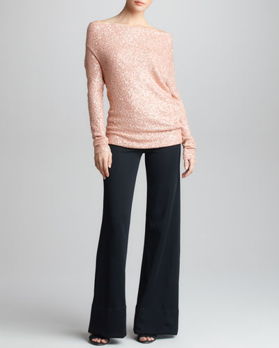 Donna Karan Asymmetric Sequined Cashmere Top & Crepe Double-Jersey Trouser