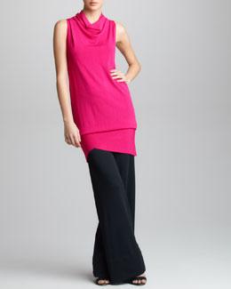 Donna Karan Asymmetric Convert Tunic & Crepe Double-Jersey Trousers