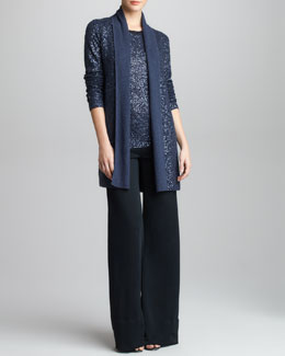 Donna Karan Sequined Cashmere-Silk Twinset & Crepe Double-Jersey Trousers