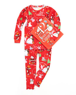 Books To Bed Girl 12 Days of Christmas Pajamas and Book Set