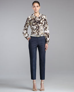 St. John Collection Leopard-Print Crepe de Chine Blouse, Emma Crepe Marocain Pants & Metallic Napa Leather Belt