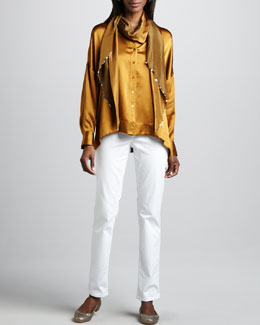 Eileen Fisher Hammered Satin Button-Front Shirt, Straight-Leg Jeans & Two-Tone Scarf. Petite