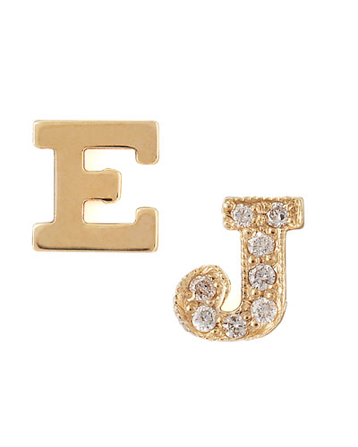 Zoe Chicco Single Initial Earrings, Gold