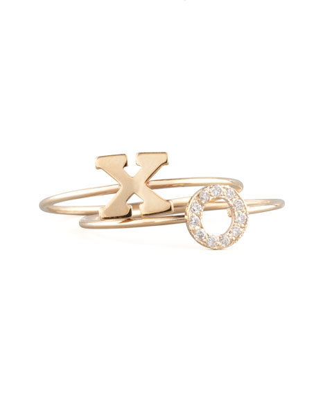 Pave Diamond Gold Initial Ring