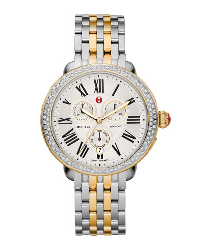 MICHELE Serein Diamond Watch Head & Two-Tone Bracelet Strap