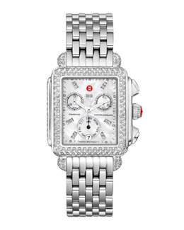 Michele Stainless Steel Deco Day Diamond Watch Head