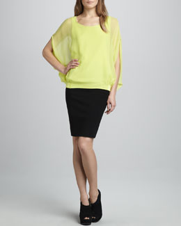 Diane von Furstenberg Robyn Silk Top & New Koto Pencil Skirt