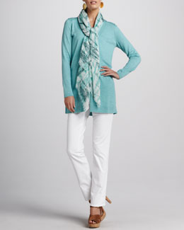 Eileen Fisher Boyfriend Cardigan, Long Jersey Tank, Stretch Denim Jeans & Shibori Gauze Wrap