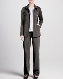 Eileen Fisher Striped Long-Sleeve Linen Top, Organic Drawstring Jacket & Pants