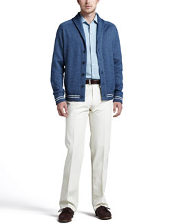 Loro Piana Portland Shawl-Collar Cardigan, Andre Chambray Shirt & Four-Pocket Trousers
