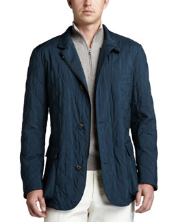 Loro Piana Quilted Roadster Jacket & Falkville Half-Zip Sweater