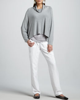 Eileen Fisher Funnel-Neck Jersey Top, Sheer-Striped Knit Top & Cargo Pants