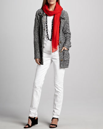 Organic Knit Long Jacket, Straight-Leg Jeans & Gauzy Wool Scarf