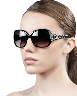 Dior Minuit Crystal-Encrusted Oversized Wrap Sunglasses