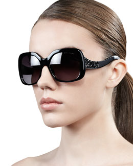 Marc Jacobs Crystal-Temple Oversized Square Sunglasses