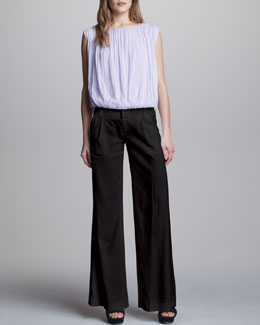 Alice + Olivia Gathered Chiffon Top & Eric Wide-Leg Pants