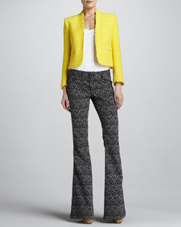 Alice + Olivia Princeton Boxy Tweed Jacket, Sleeveless Bodysuit & Printed Bell-Bottom Pants