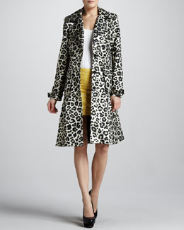 Alice + Olivia Charla Leopard-Print Trenchcoat, Sleeveless Bodysuit & Leigh Metallic Tweed Miniskirt